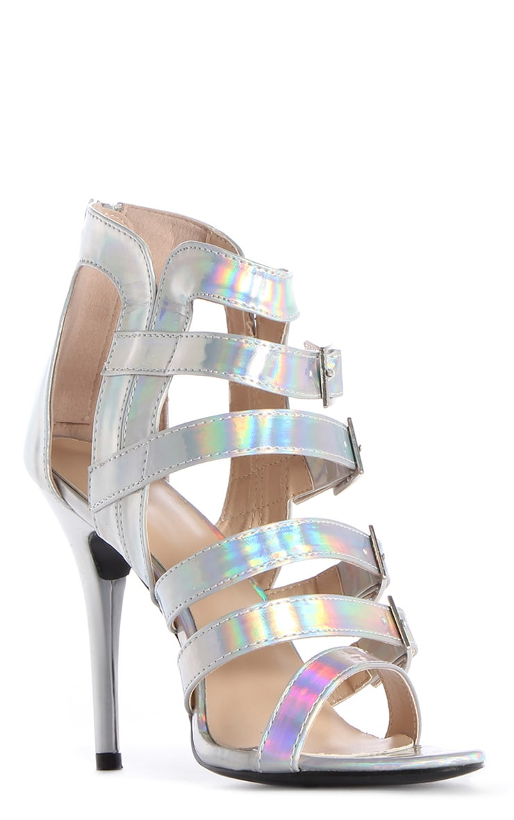 Freya Holographic Strappy Cage Heels 3