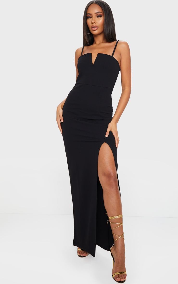 Black V Bar Strappy Maxi Dress 1
