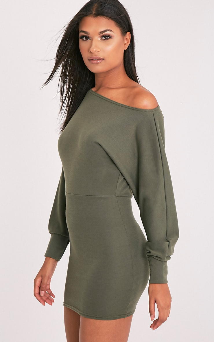 Narlie Khaki Off The Shoulder Sweater Dress 4