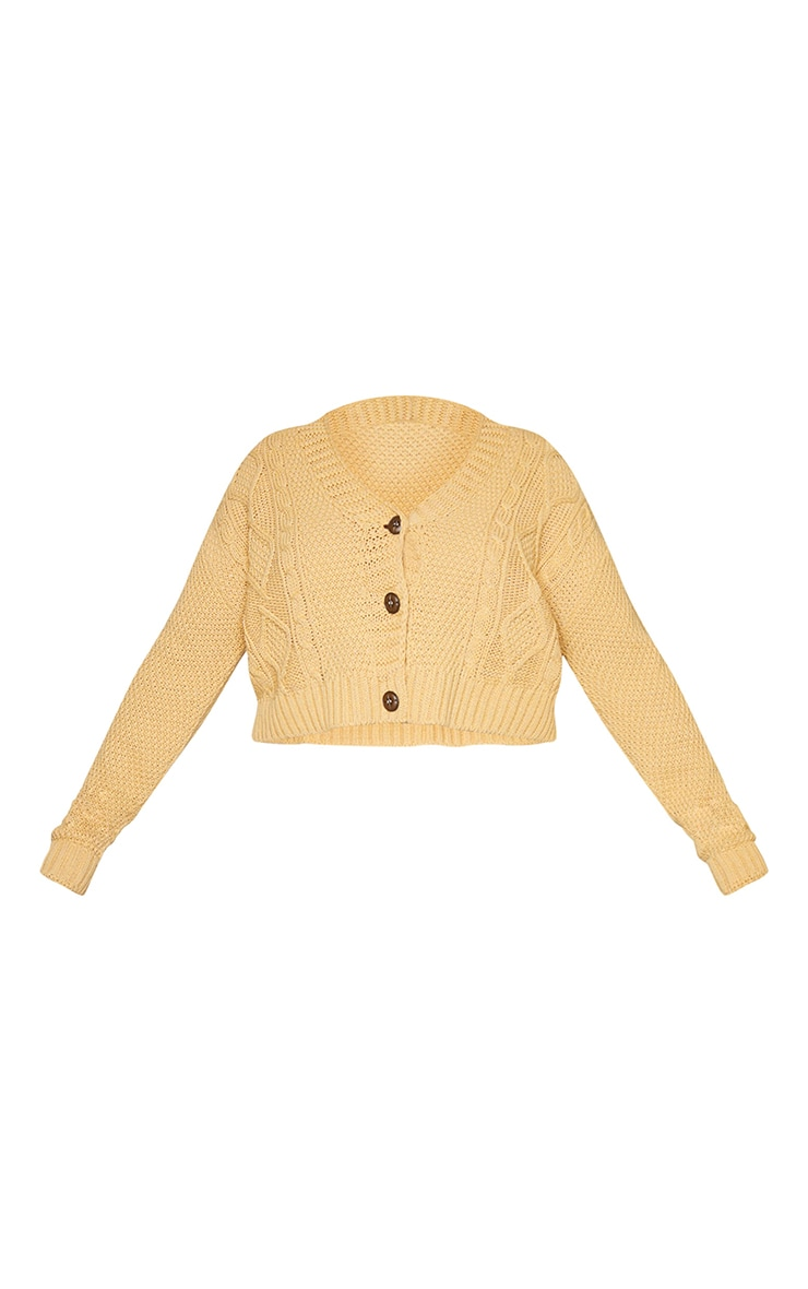 Plus Camel Cable Cropped Cardigan 5