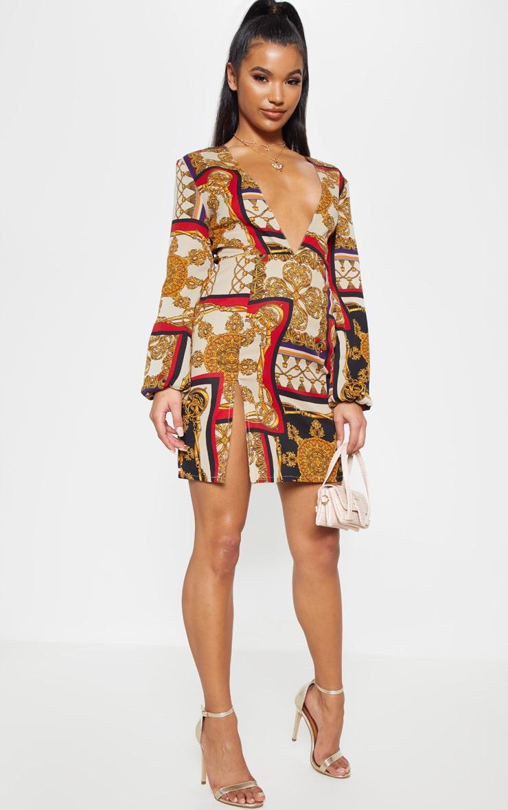 Multi Satin Chain Print Bodycon Dress 4