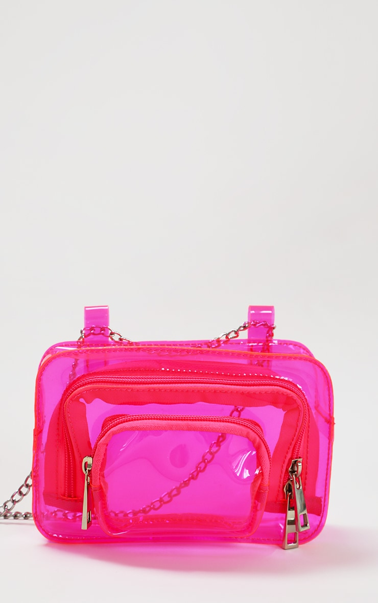 Pink Clear PU Chain Belt Bag 1