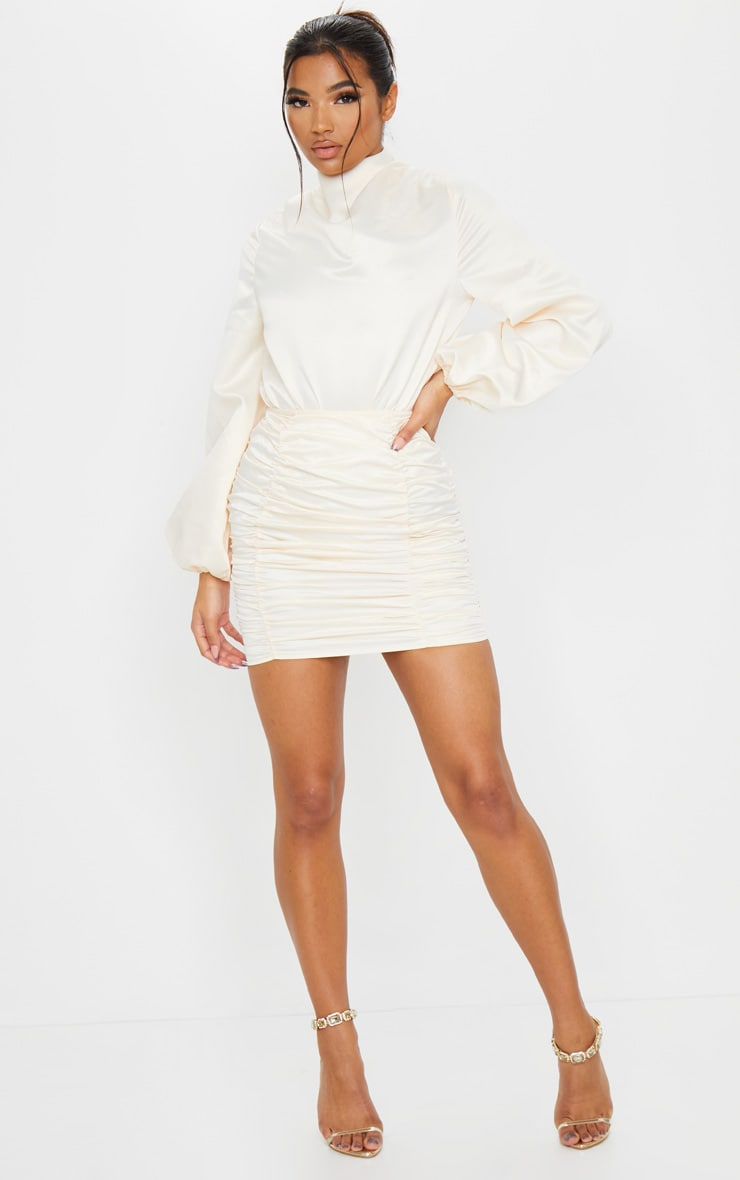 Cream Ruched Panel Mini Skirt 2