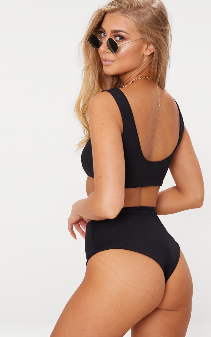 Black Mix & Match Square Scoop Neck Bikini Top 2