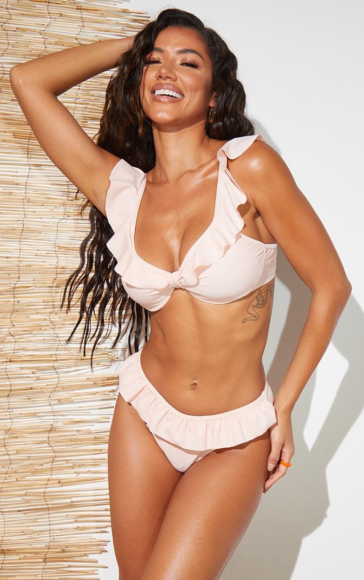 Peach Frill Edge Underwired Bikini Top 1