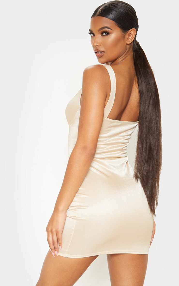 Champagne Shimmer Cup Detail Bodycon Dress 2