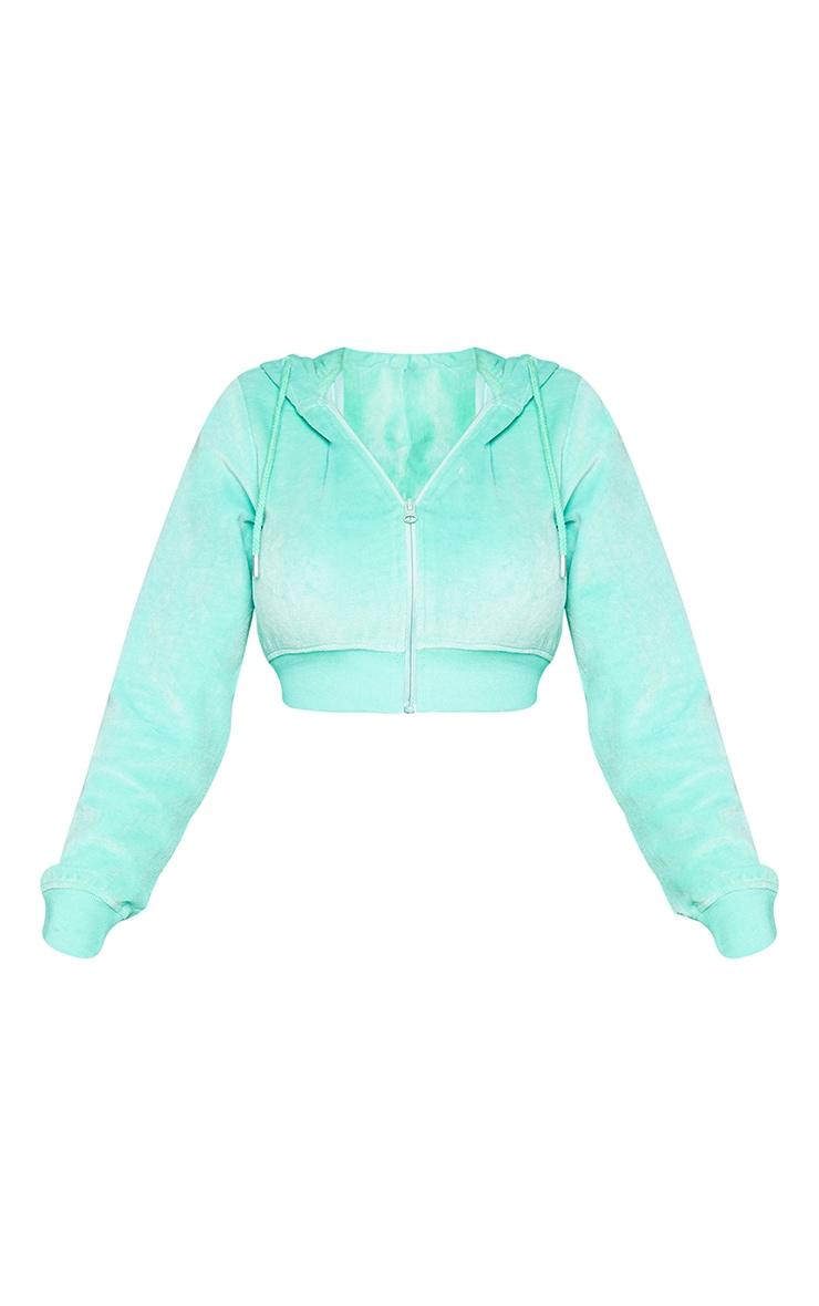PRETTYLITTLETHING Shape Mint Velour Extreme Crop Sweatshirt 5