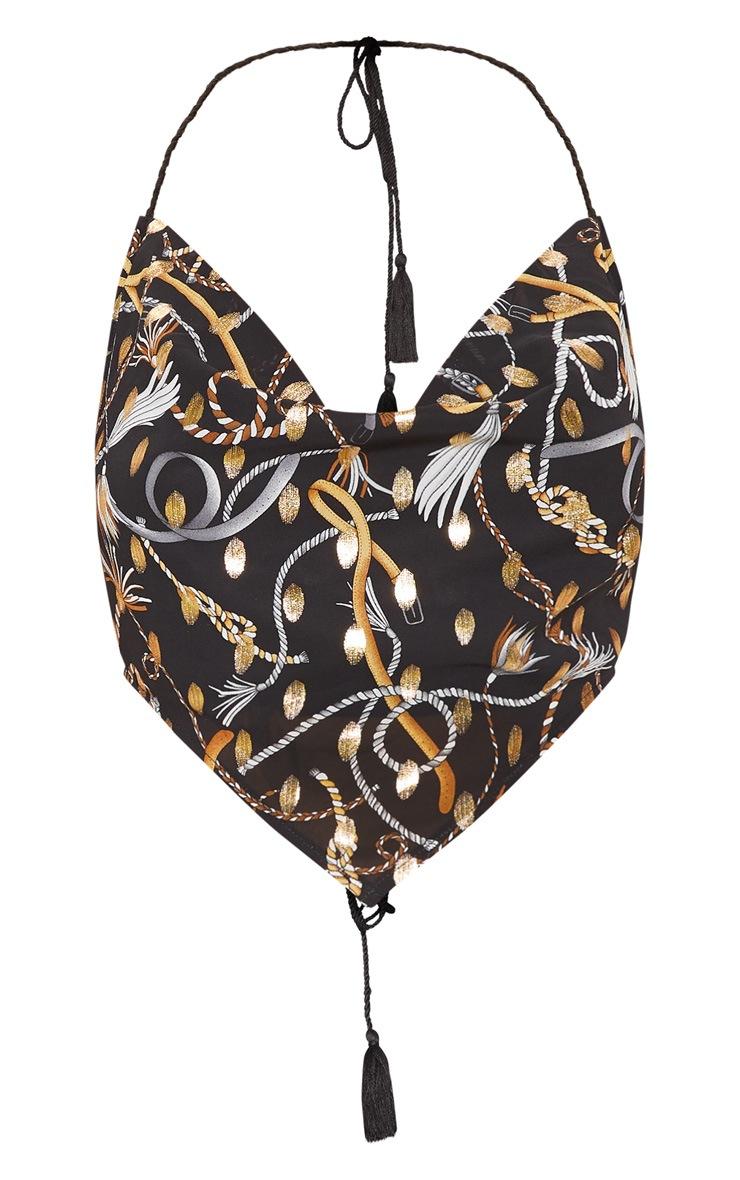 Black Woven Printed Floral Handkerchief Crop Top 3