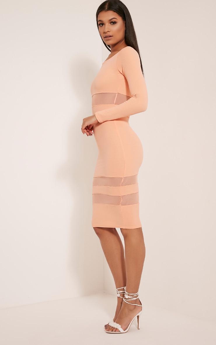 Kaycee Peach Long Sleeve Mesh Panel Midi Dress 4