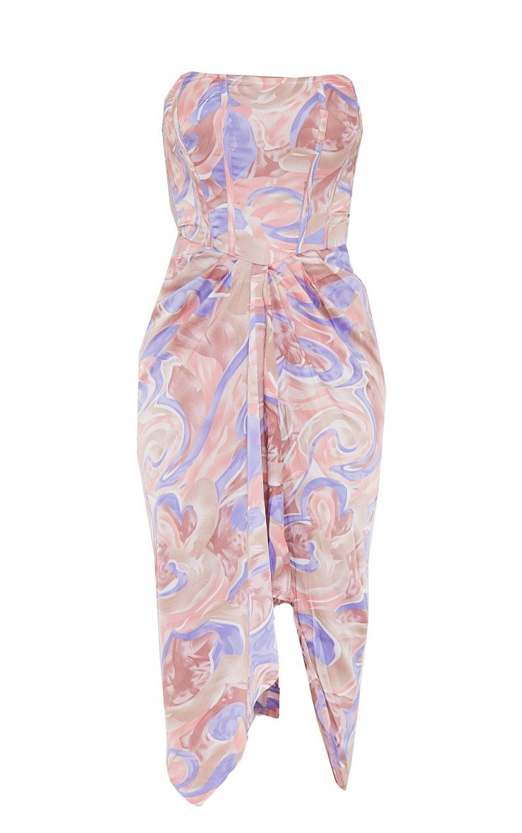 Multi Swirl Print Corset Draped Bandeau Midi Dress 5