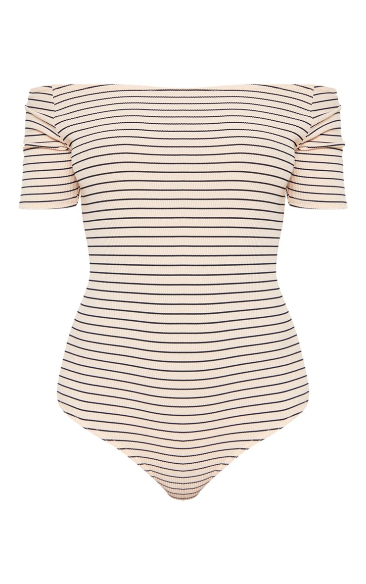 Nude Stripe Rib Bardot Bodysuit 4