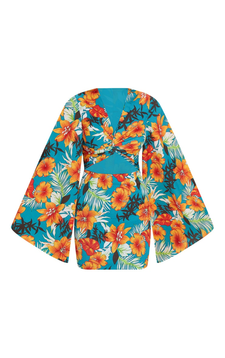 Blue Floral Twist Front Batwing Sleeve Bodycon Dress 3