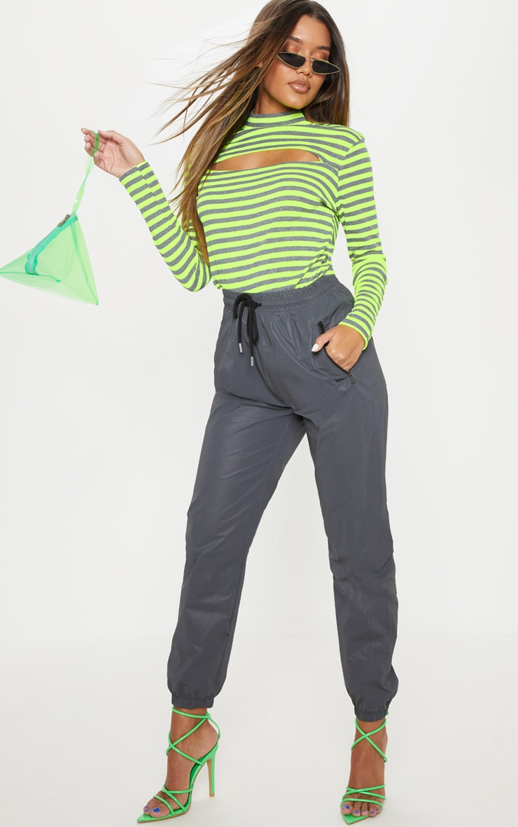 Neon Lime Neon Stripe Cut Out Long Sleeve Top 4