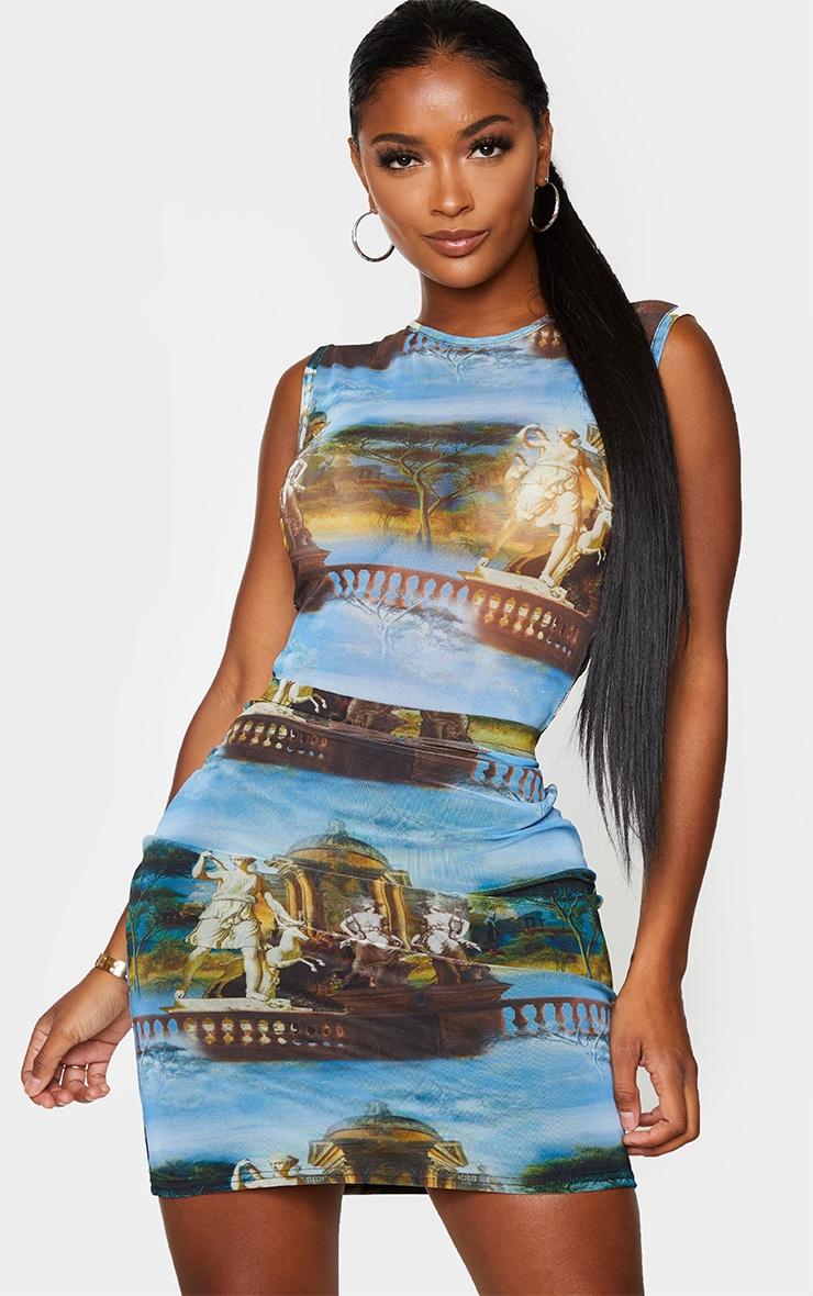 Shape Blue Renaissance Print Bodycon Skirt 1