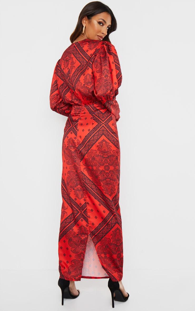 Rust Satin Tile Printed Puff Sleeve Maxi Dress 2