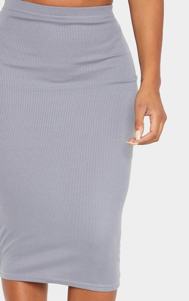 Shape Grey Ribbed Basic Midi Skirt 5
