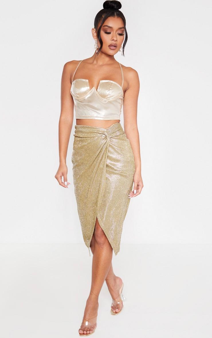 Gold Glitter Knot Front Midi Skirt 1