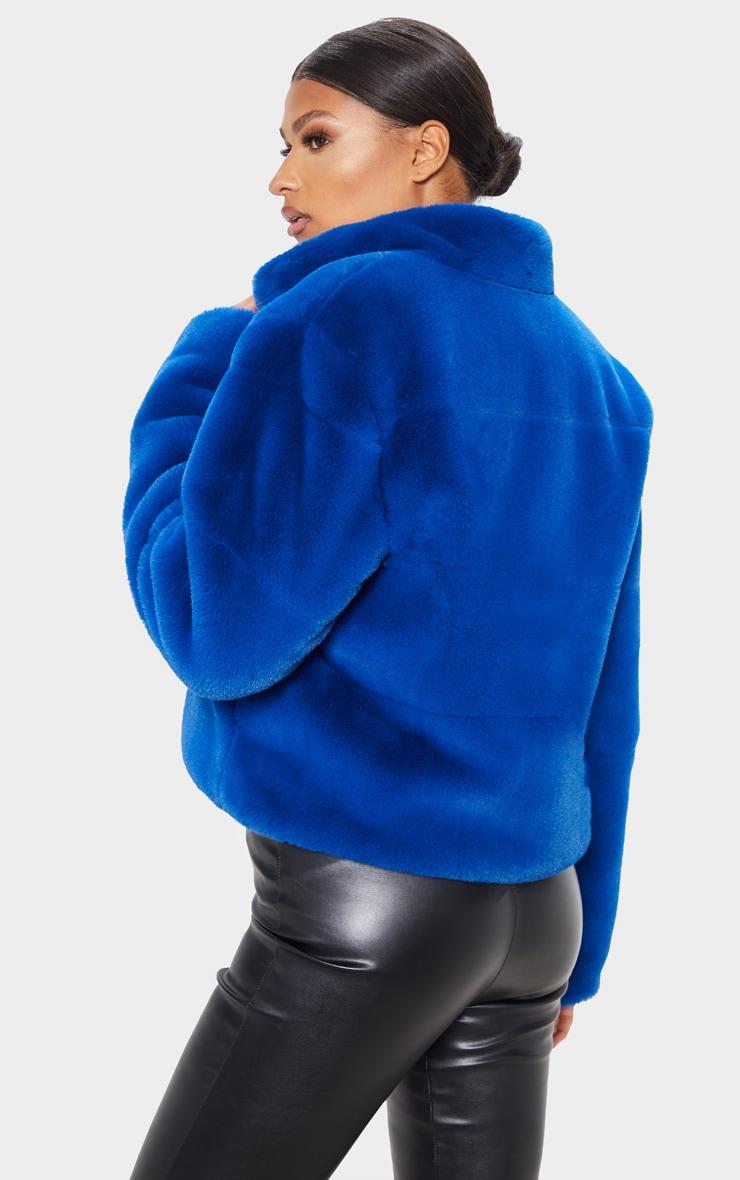 Cobalt Faux Fur Jacket 2