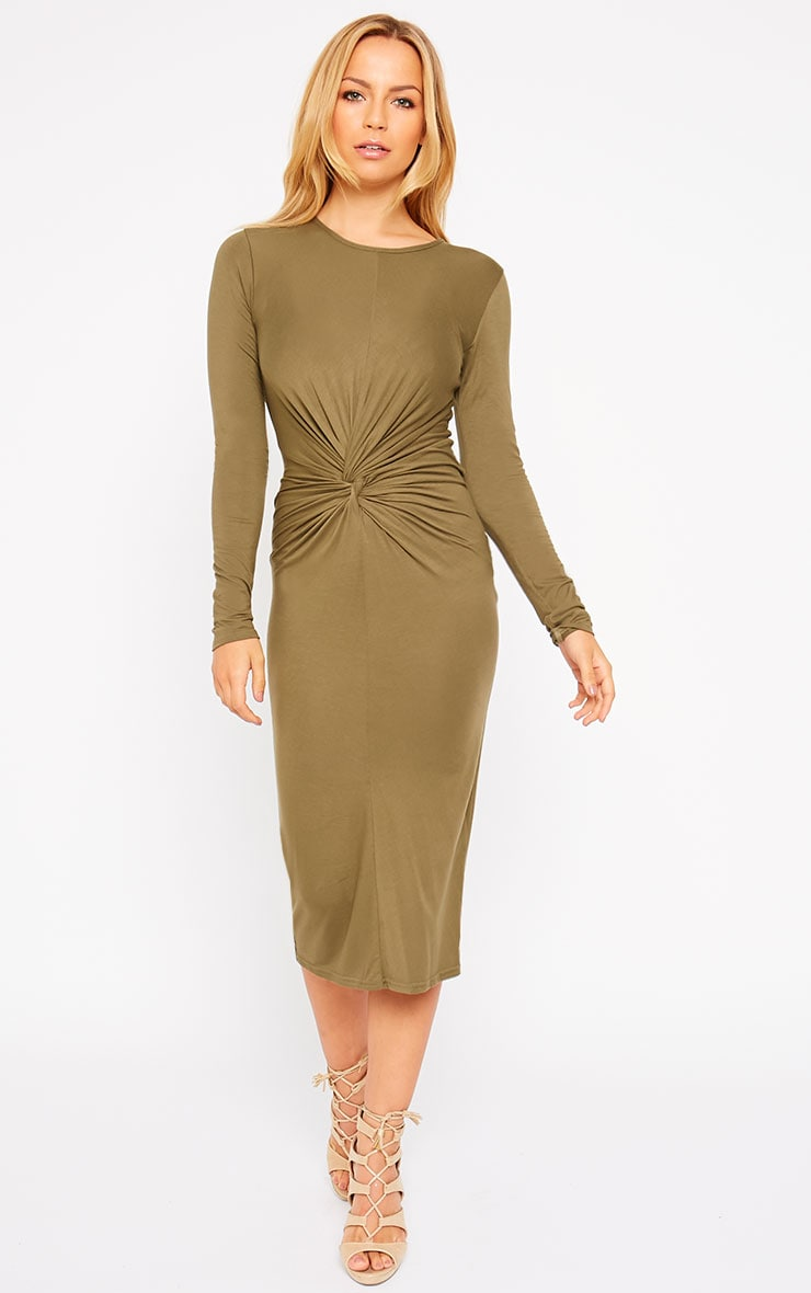 Kenna Khaki Knot Front Midi Dress 3