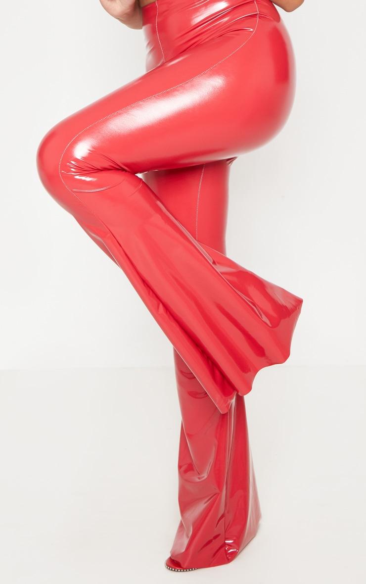 Red Vinyl High Waisted Flare Leg Trouser 5