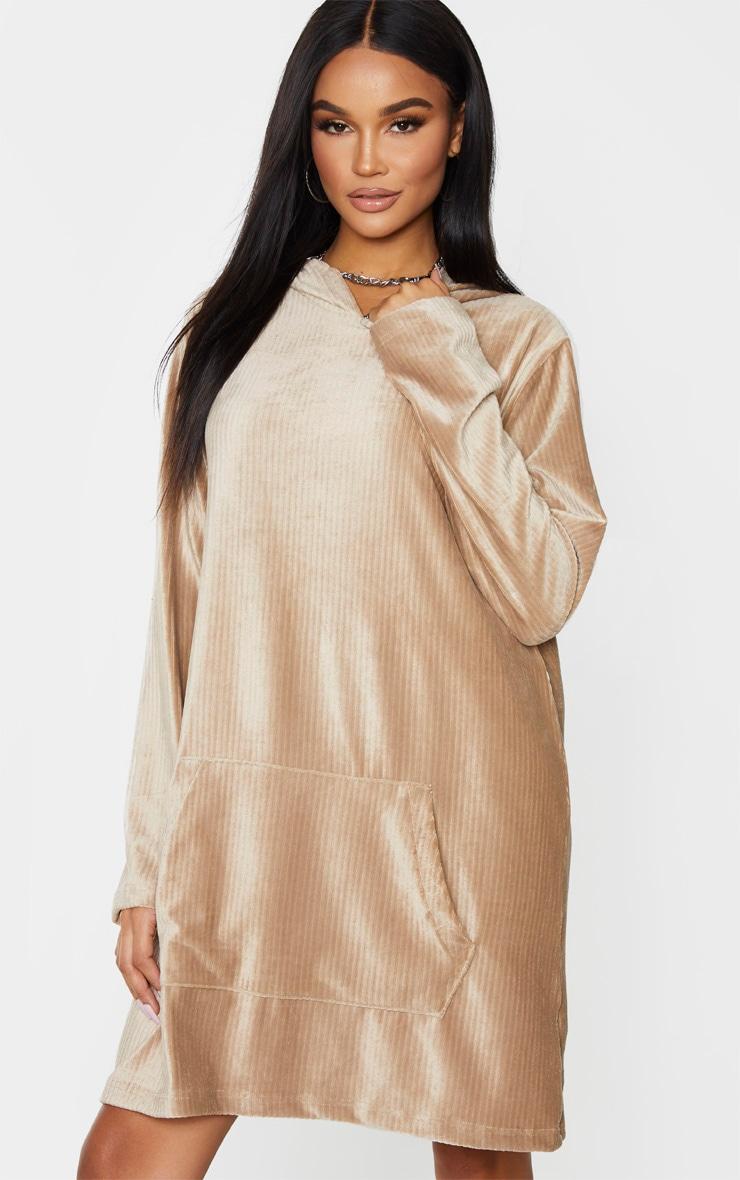 Beige Soft Rib Oversized Long Sleeve Hoodie Jumper Dress 1