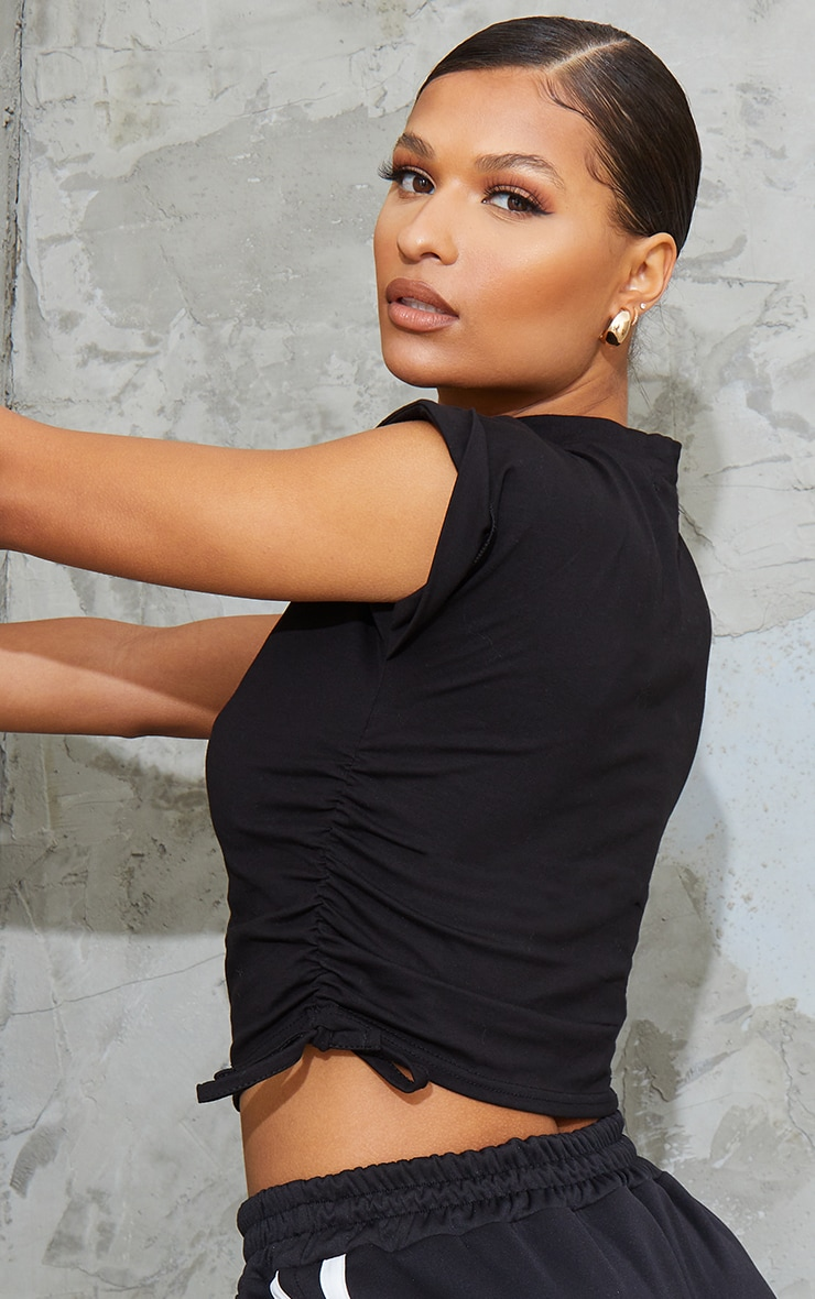 Black Cotton Folded Sleeve Ruched Side Crop Top 1