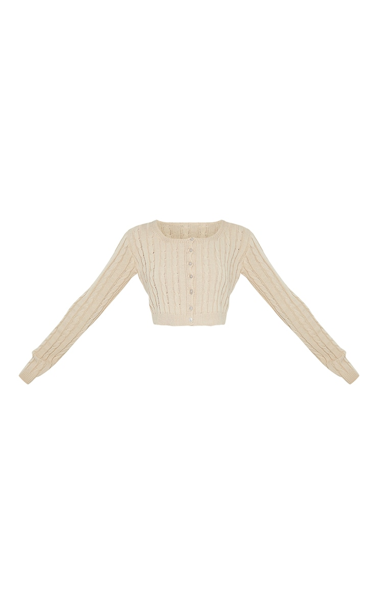 Stone Cable Button Up Cropped Cardigan 5