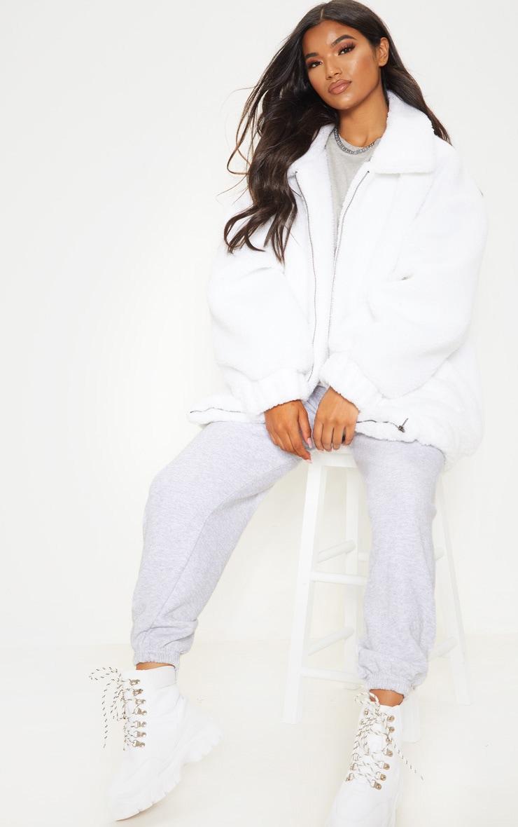 White Oversized Borg Pocket Front Coat 1