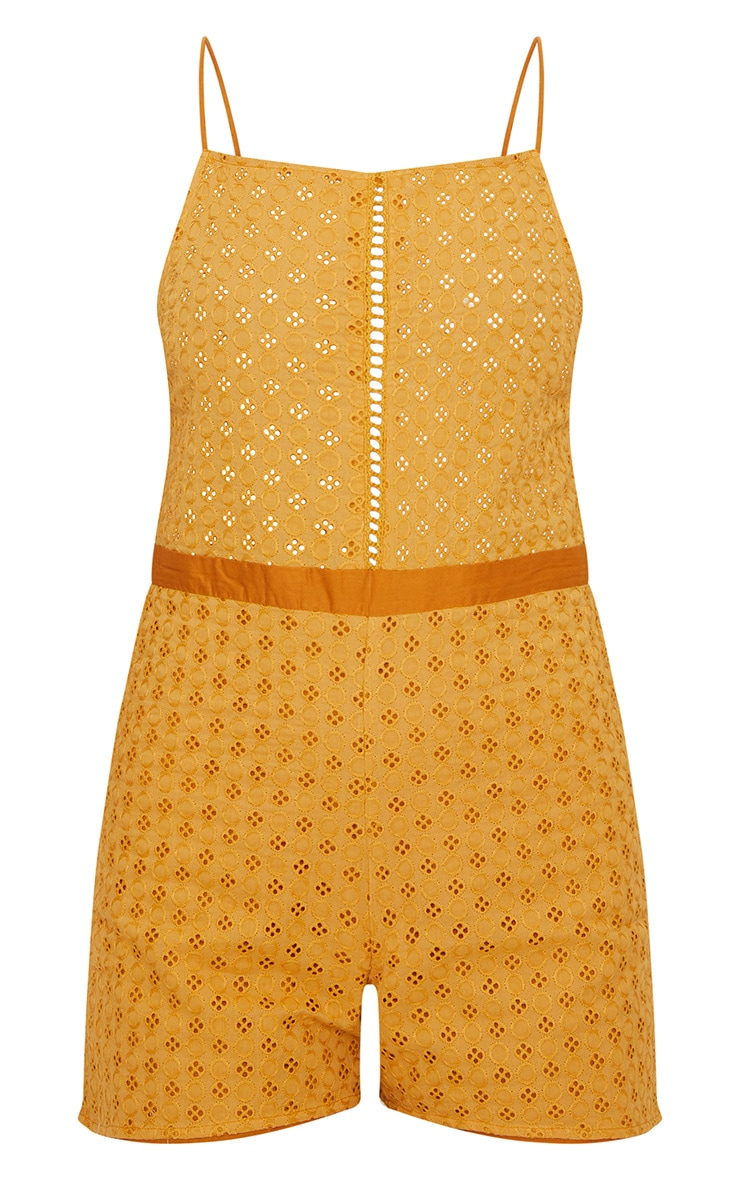 Mustard Broderie anglaise Straight Neck Playsuit 3