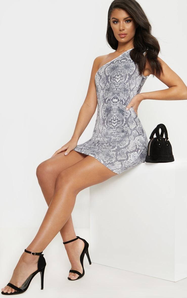 Grey Snake Print Velvet One Shoulder Bodycon Dress 1
