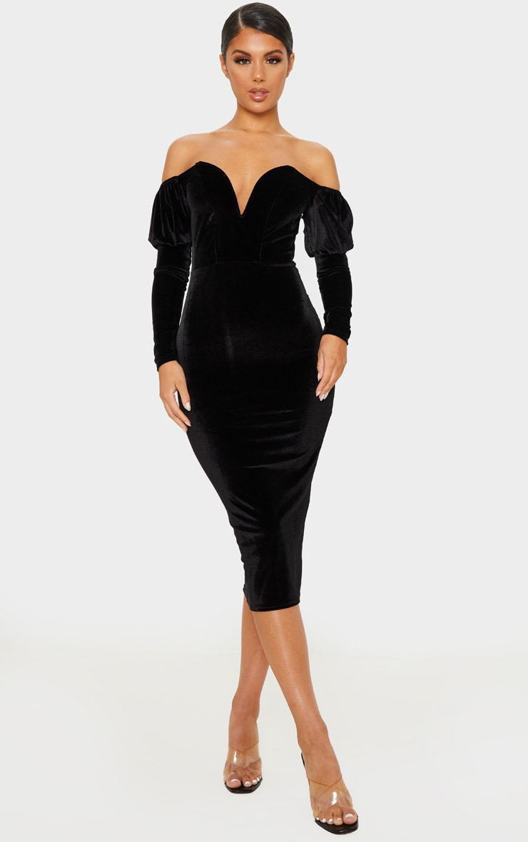 Black Velvet V Bar Puff Sleeve Midi Dress 1