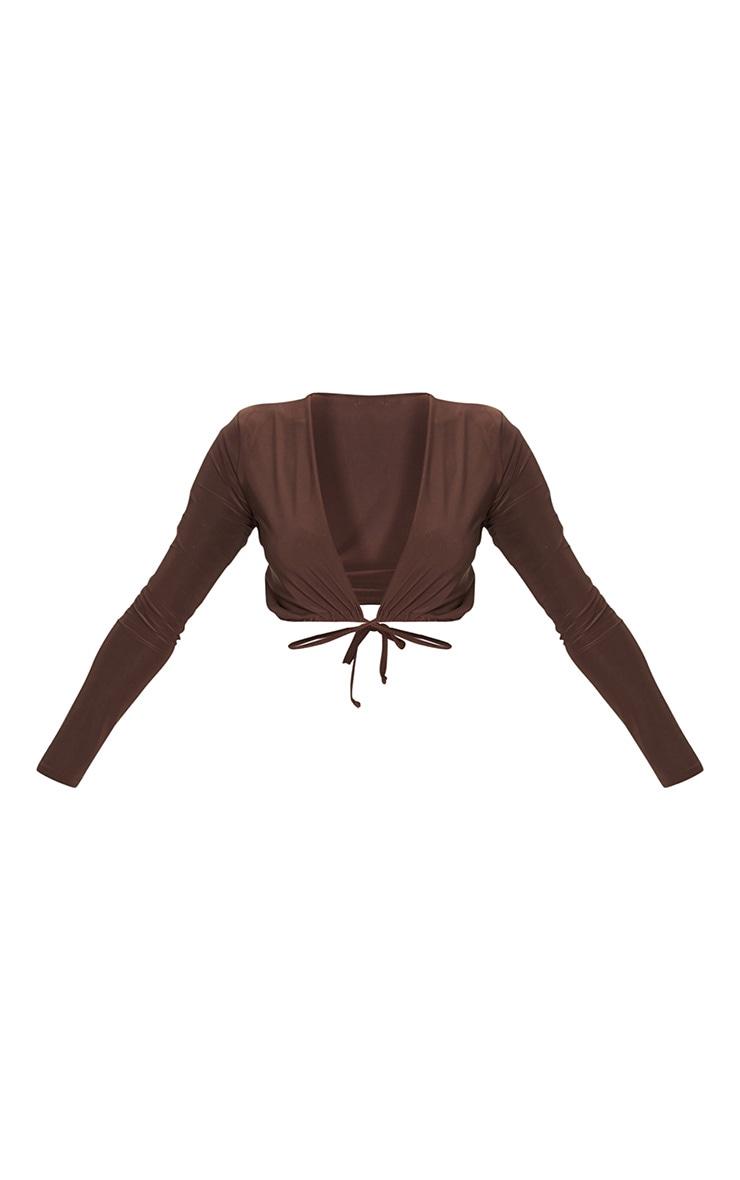 Chocolate Slinky Tie Waist Long Sleeve Crop Top 5