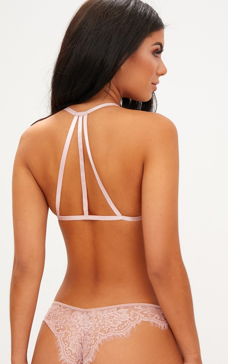 Blush High Neck Lace Bow Tie Bralet 2