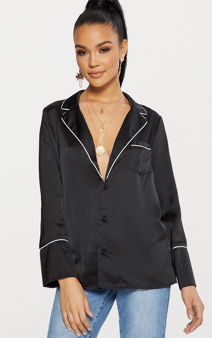 Black Satin Contrast Seam Oversized Shirt 1