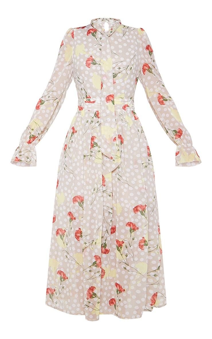 Cream Polka Dot Floral Chiffon Neck Tie Skater Midi Dress 3