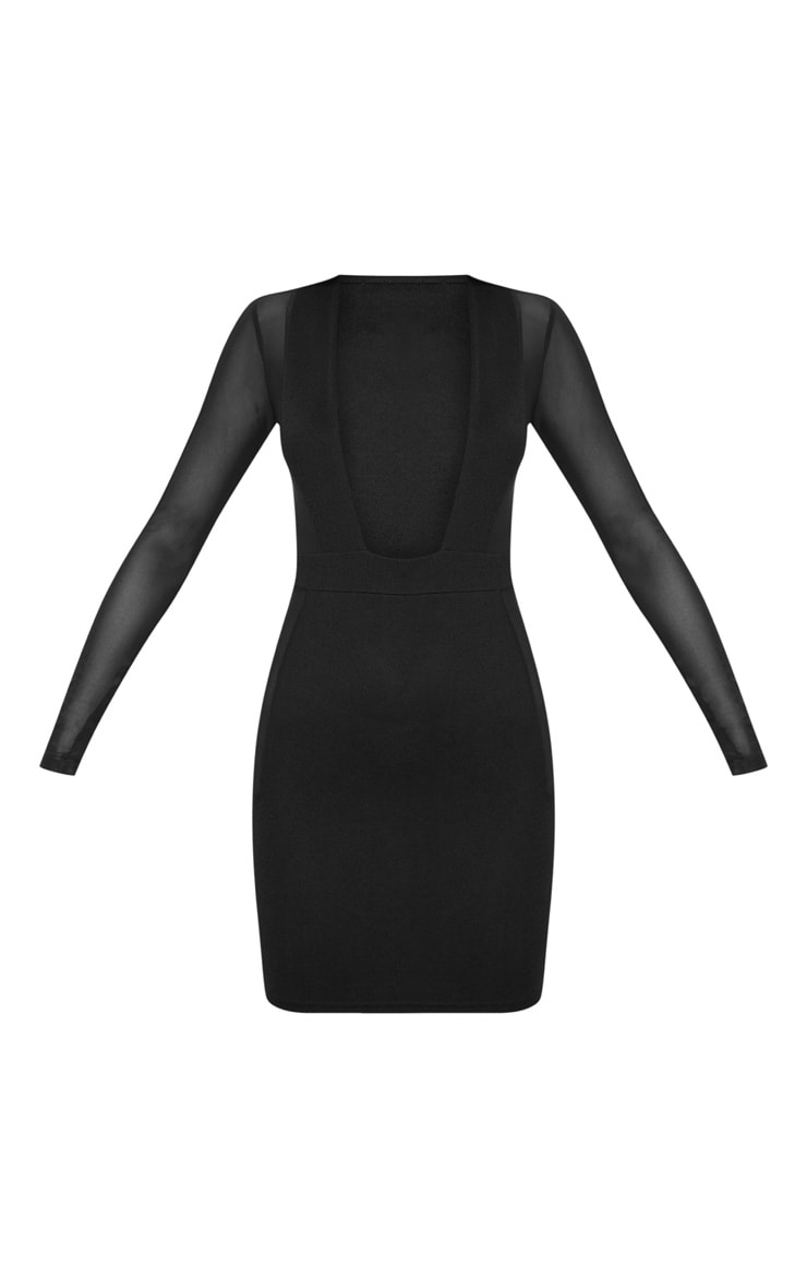 Black Mesh Insert Extreme Plunge Long Sleeve Bodycon Dress 3