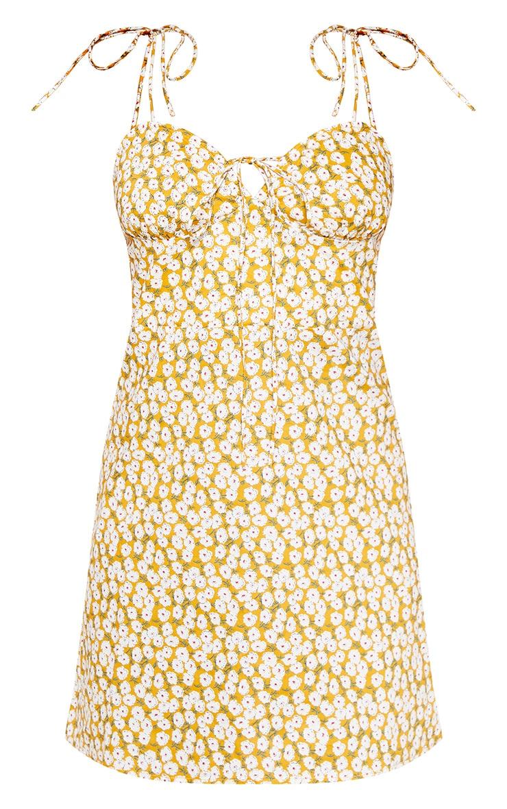 Mustard Floral Strappy Tie Shoulder Shift Dress 3