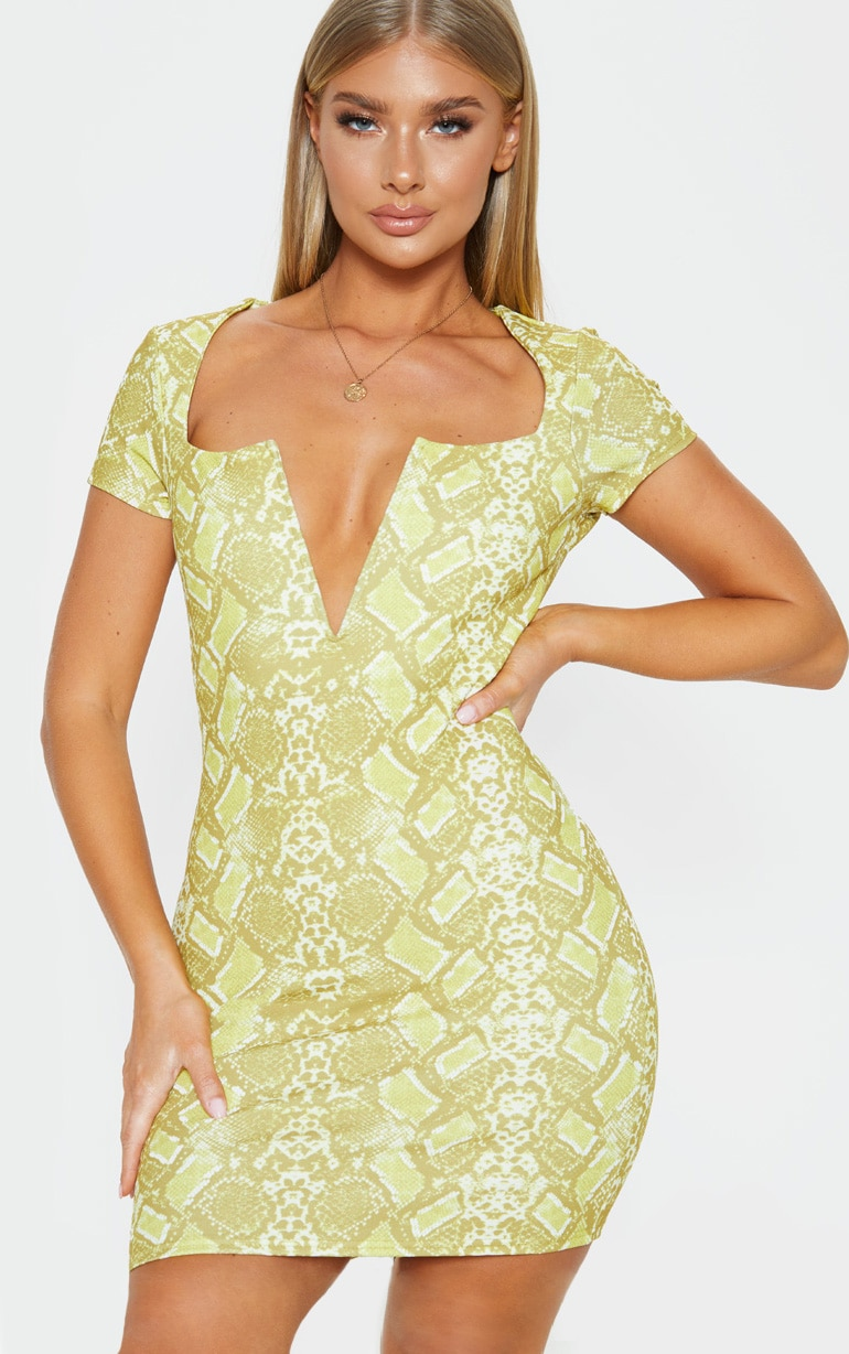 Yellow Snake Print Short Sleeve V Plunge Bodycon Dress 1
