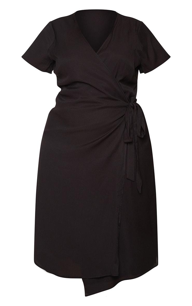 Plus Black Wrap Midi Dress 5