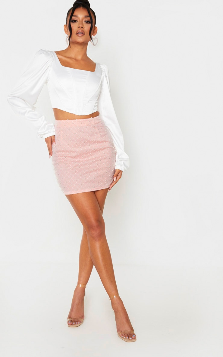 Baby Pink Woven Bead Detail Mini Skirt 1