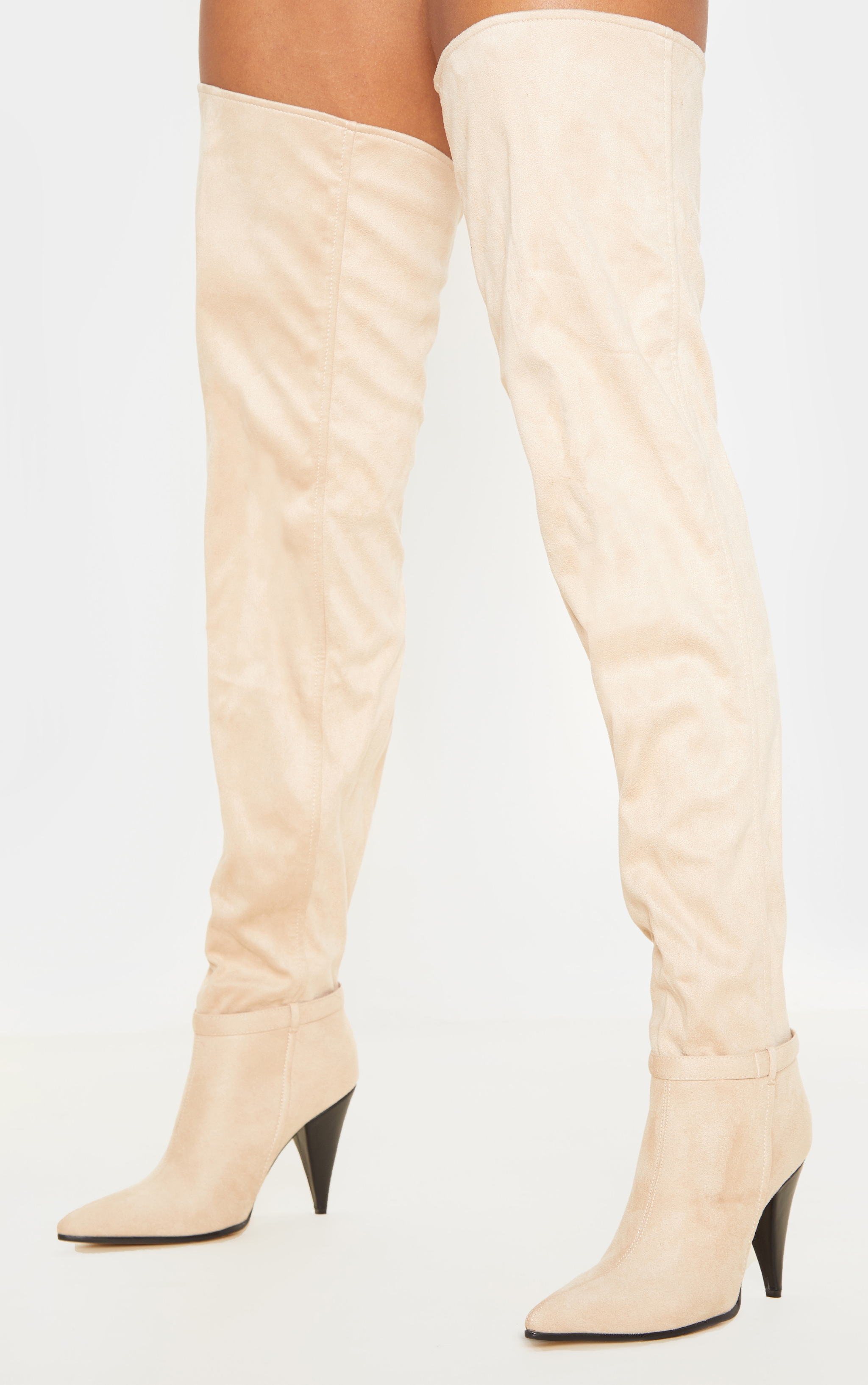 Nude Cone Heel Slouch Thigh Boot 1