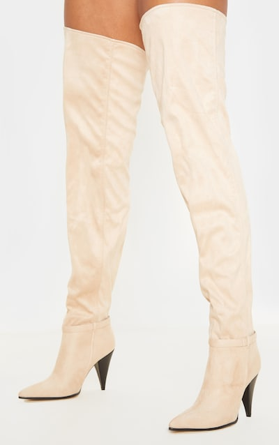Nude Cone Heel Slouch Thigh Boot