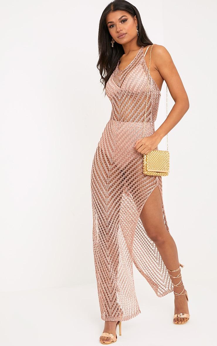 Paizlee Rose Gold Metallic Knit Halter Neck Dress 3
