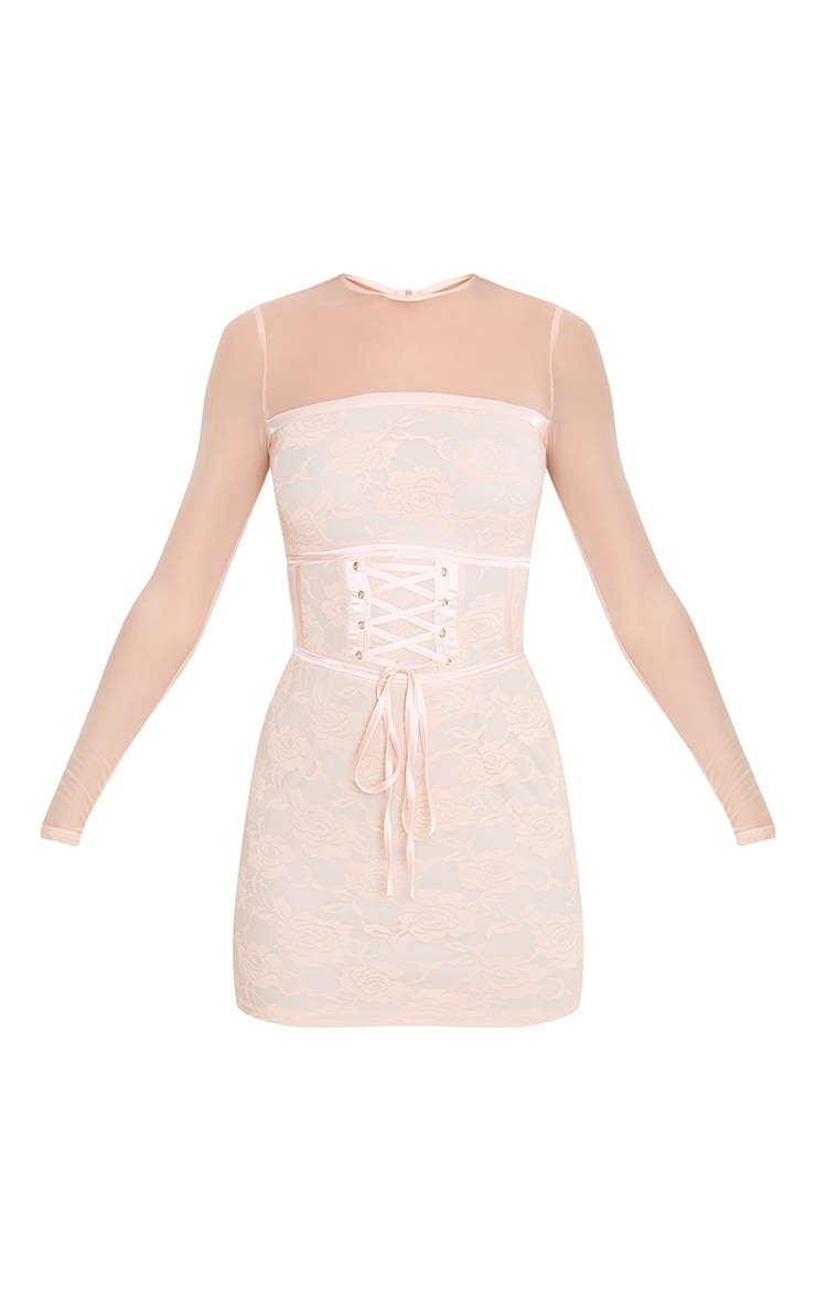Kalla Blush Corset Detail Lace Bodycon Dress 3