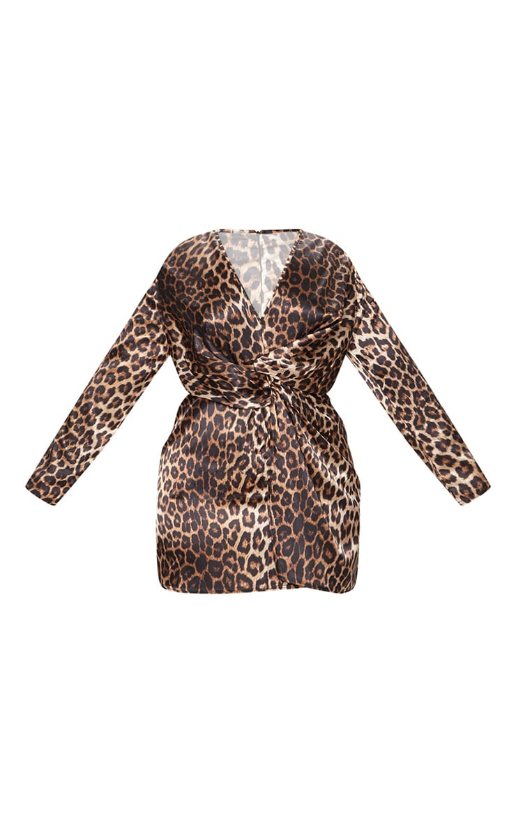 Plus Leopard Print Satin Twist Front Shift Dress 3