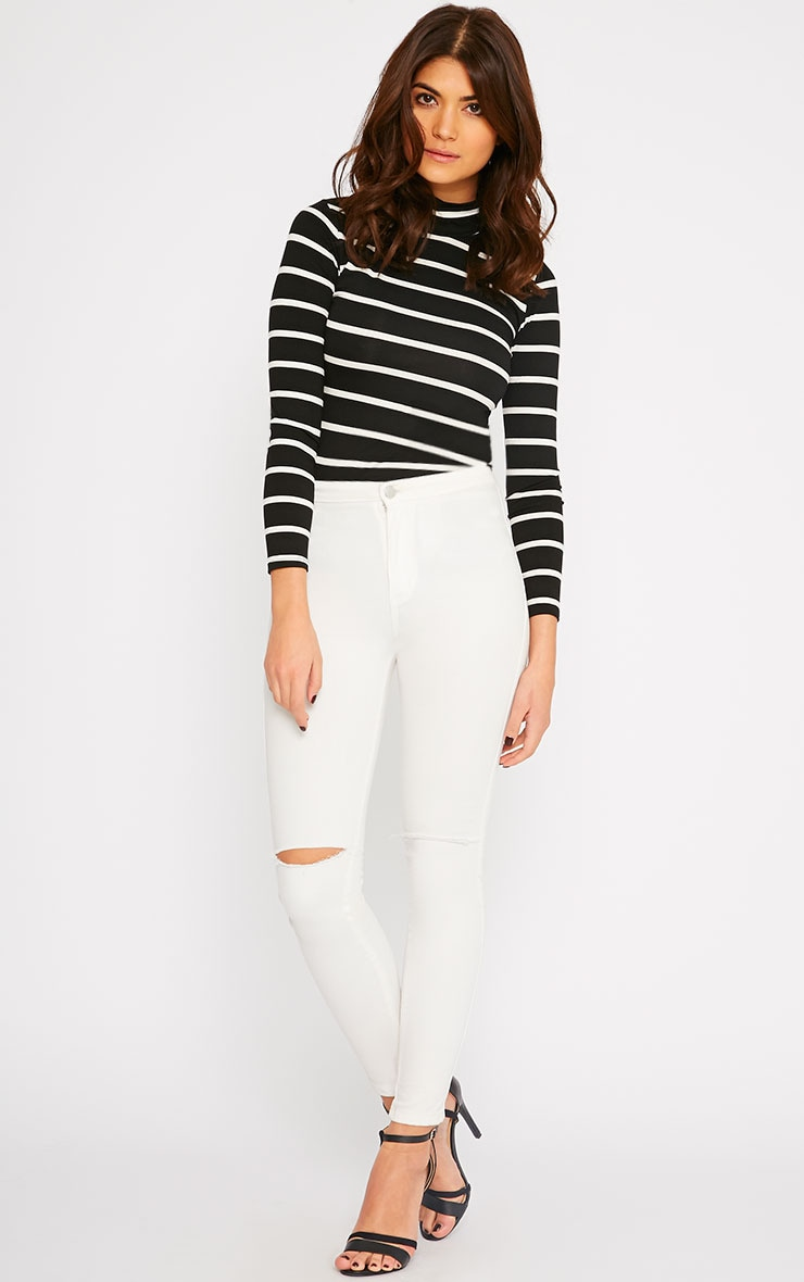 Dani Black Stripe Turtle Neck Top 3