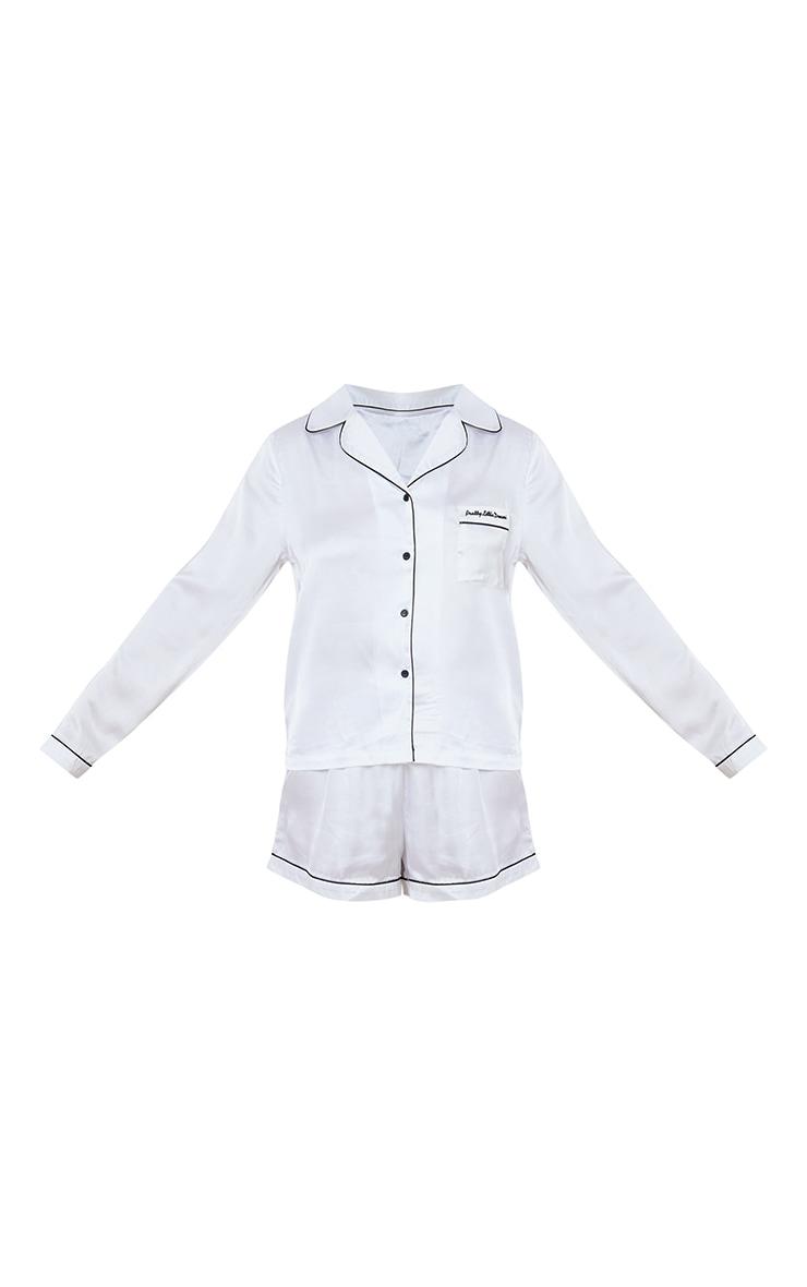 Pretty Little Dreams White Satin Long Shirt And Short PJ Gift Set 5