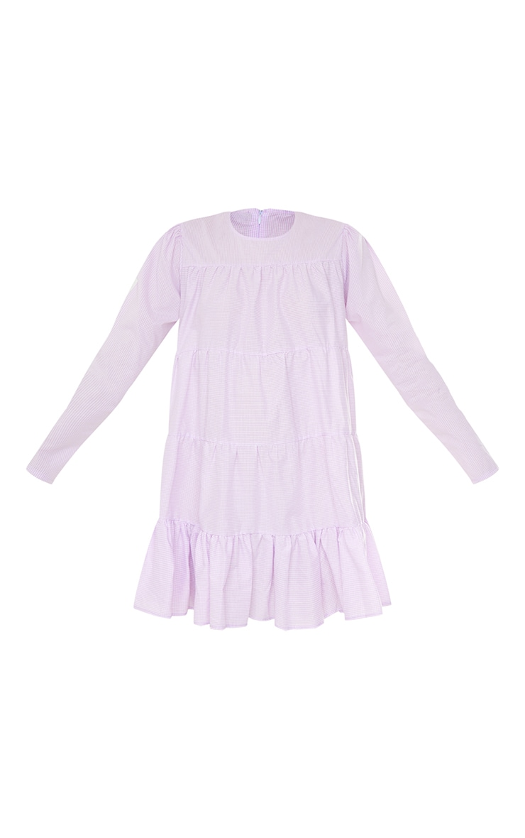 Lilac Gingham Tiered Hem Long Sleeve Shift Dress 5