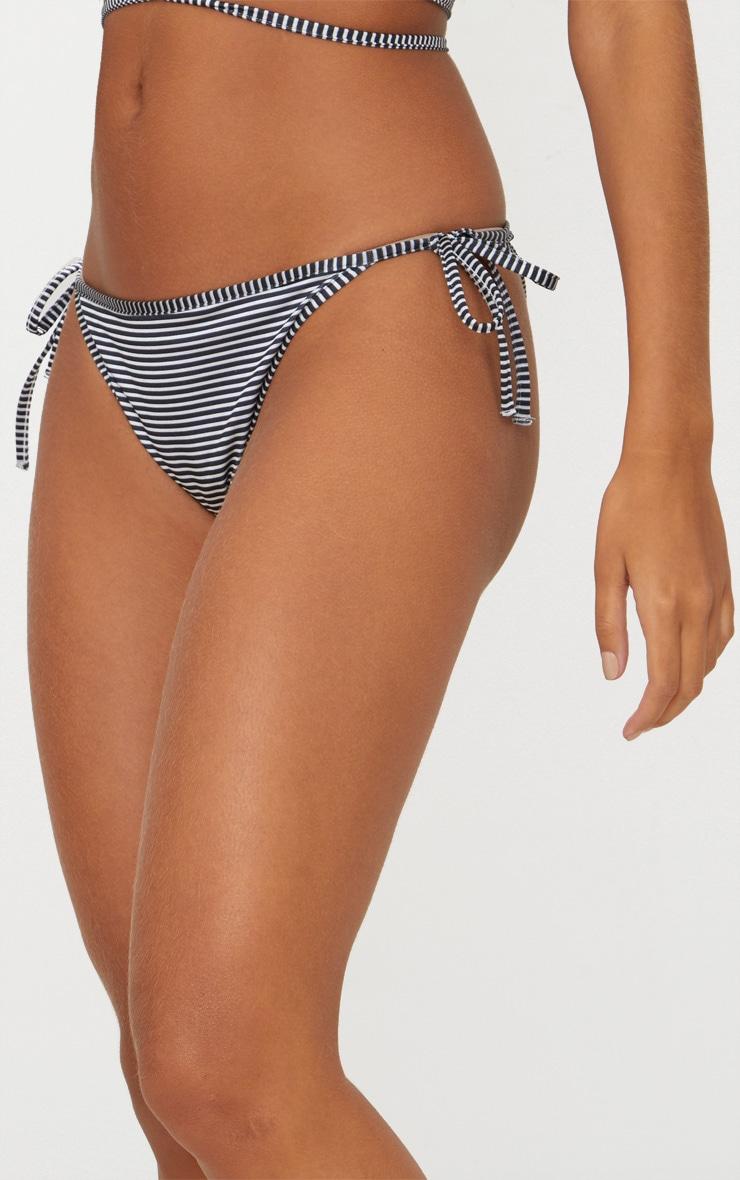 Black Striped Tie Side Bikini Bottom 5