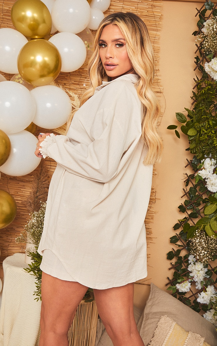 Maternity Stone Oversized Linen Look Shirt 2